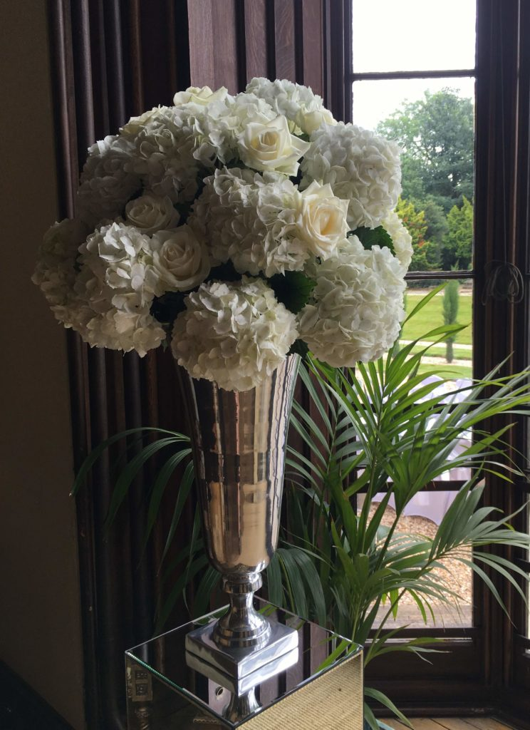 Summer wedding at Marr Hall- large vase arrangements by Nicole Dalby Flowers