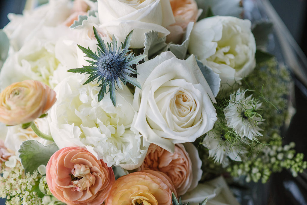 Wedding flowers at Crossbasket Castle - vintage style bridal bouquet by Nicole Dalby