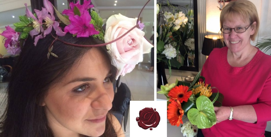 Glasgow flower arranging classes - a flower crown with single dusky pink rose, a floral centre piece table decoration